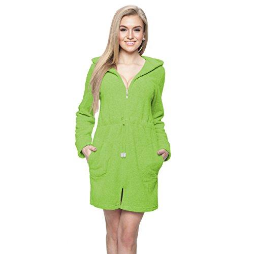 Damen Bademantel Kurz Morgenmantel mit Kapuze und Reißverschluss Saunamantel, Farbe: Grün, Größe: 3XL