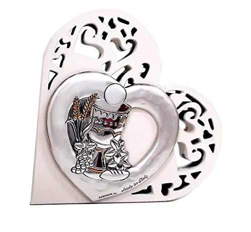 Cvc srl - bomboniera per comunione in legno bianco tagliato laser a forma di cuore 6 x 6 cm con raffigurazione calice di vino e ostia in argento bilaminato 925 e oro