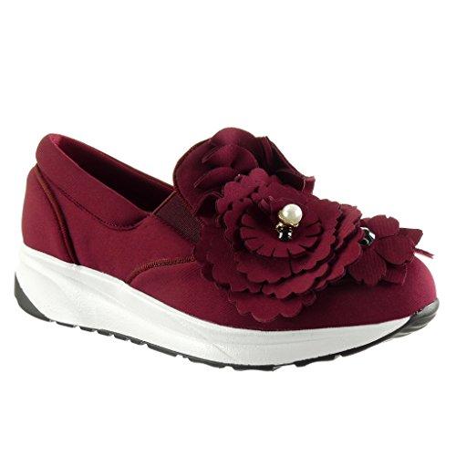 Angkorly - damen Schuhe Sneaker - Slip-On - Plateauschuhe - Blumen - Perle - Strass Keilabsatz 3 CM Burgunderrot