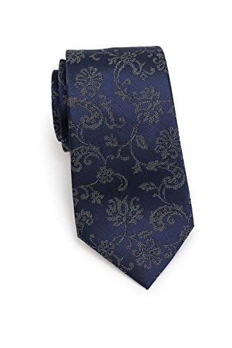 Blackbird Schmale Krawatte, 100% Seide, 4 verschiedene Farben, Modernes elegantes Rankenmuster, 7 cm Skinny/Slim Tie, Handarbeit (Dunkelblau) -