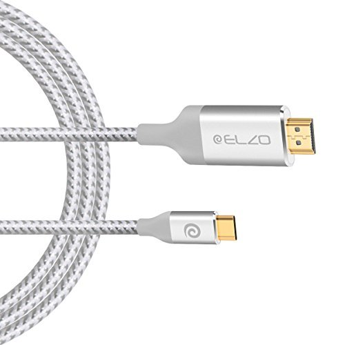 (1,8M, 4K@60Hz Ultra-HD), ELZO USB 3.1 Typ C zu HDMI Kabel (Thunderbolt 3 kompatibel) für 2017/2016 MacBook Pro, iMac 2017, Samsung Galaxy S8/S8 Plus, ChromeBook Pixel -Silber (Apple Usb Telefonkabel)