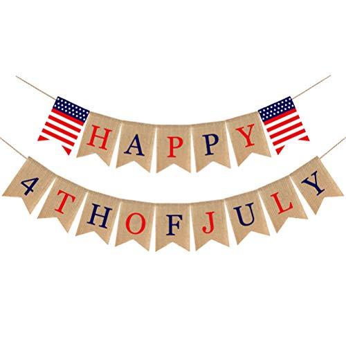 Amosfun American Sackleinen Banner Happy 4. Juli Bunting Banner für Unabhängigkeitstag Memorial Day USA Party Dekoration