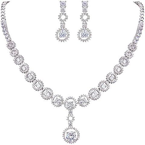 EVER FAITH® silver-tone Cubic Zirconia elegante cerchio della collana del pendente Anelli dell'orecchio Set Cancella
