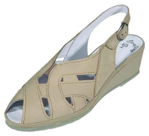 DocComfort Damen Sandalen-Pantol.bequem Nubukleder, Lederfußbett, 35 mm Keil, TR-Sohle beige Weite G