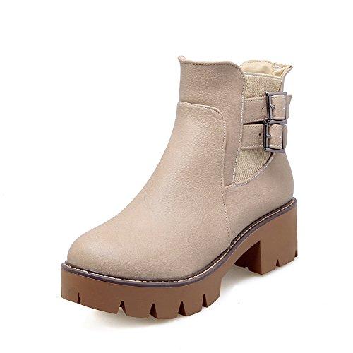 AgooLar Damen PU Niedrig-Spitze Rein Ziehen auf Mittler Absatz Stiefel, Cremefarben, 39