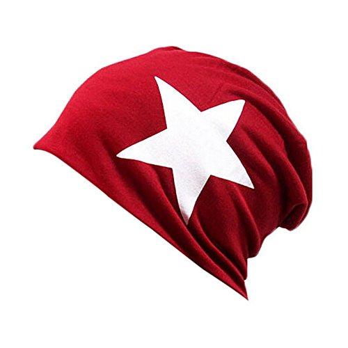 Tininna unisex caldo autunno inverno classico stella stampe beanie hat caldo orecchio cappello per la donna uomini rosso