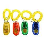 ceesc Hund Clicker, die Fernbedienung Funktion Funny Pet Training Set, 4Stück 4Farbe mit Gelb Handschlaufe