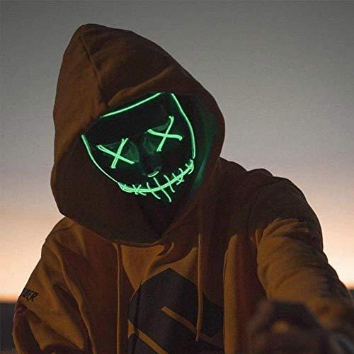 Queta LED Mascara de Halloween, Máscara de Terror Diversión (Verde)