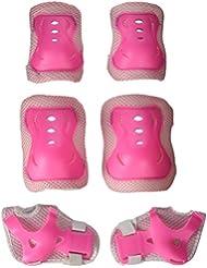LEORX - Juego de protecciones para niños (6 unidades, protecciones para patinaje y ciclismo, para los codos, las muñecas y las rodillas), color rosa, rosa