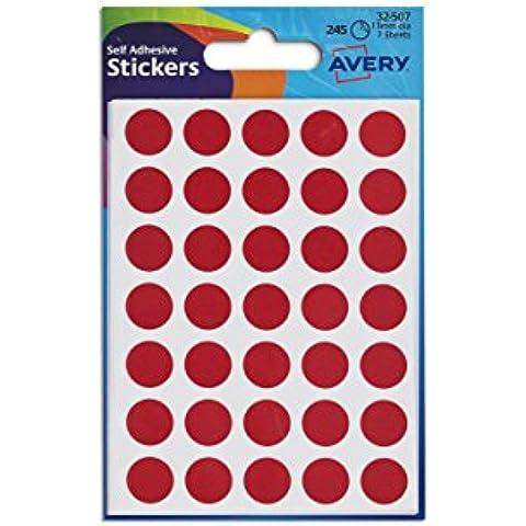 Avery UK-Etichette a cerchio, diametro 13 mm 8 mm rosso