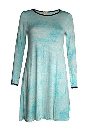Mix lot Lange Ärmel Multi prüfen drucken Mini Swing-Kleider für Casual Wear Größen 36-42 Mint Krawatte & die