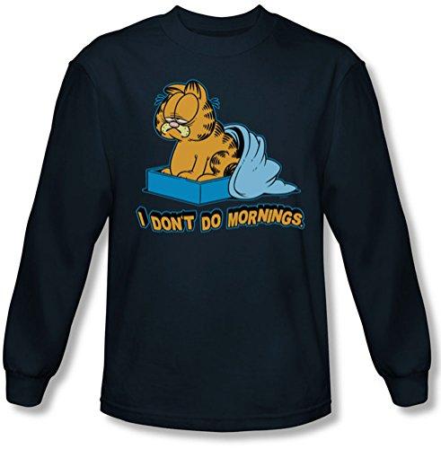 Garfield - Herren I Don 't Do Mornings Langarm-Shirt in Navy Navy