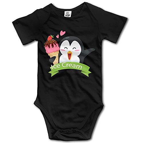 TKMSH Unisex Baby's Climbing Clothes Set Penguin Ice Cream Bodysuits Romper Short Sleeved Light Onesies for 0-24 - Halloween Ice Cream Kostüm