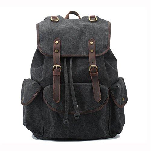 Borsa a tracolla della tela di canapa, zaino di corsa di svago, sacchetti del documento, tasca con cerniera, spazio multi-livello, di grande capacità, in tessuto di tela, traspirante e confortevole ,  dark gray