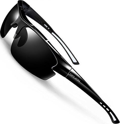 SIPLION Herren Sonnenbrille UV400 Schutz Polarisiert Superleichtes Rahmen 502 BLACK