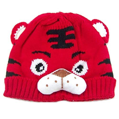 Mütze Baby Kostüm Tiger - sunnymi Mütze Baby Kinder Warmer Winterhut Tiger Karikatur Cap Fotoshooting Kostüm Gestrickt Wolle Säumen Häkel Hut (Rot, 0-24 Monate)