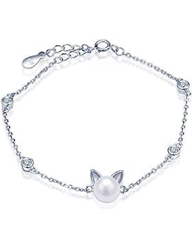 Unendlich U Niedlich Katze Kätzchen Damen Armband 925 Sterling Silber Zirkonia Perle Armkette Verstellbar Charm...