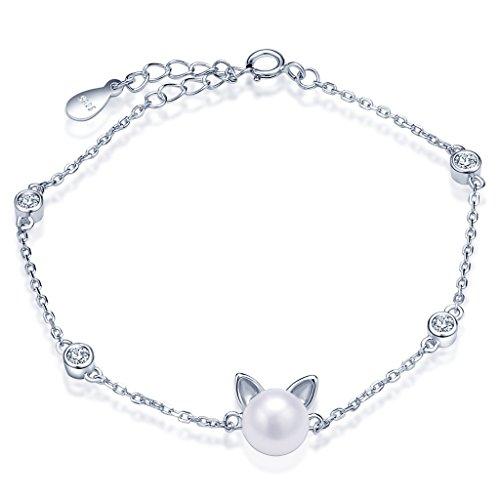 Infinite U Gato Kitty–Pulsera de plata de ley 925perla encanto ajustable Enlace Cadena Pulsera, color plata