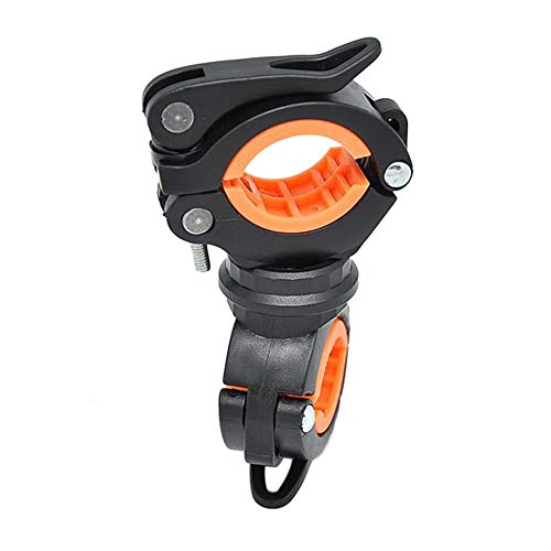 B5645ells360 Grad-Drehung Radfahren Fahrrad Taschenlampe Lenker Halter Clamp Clip - Schwarz + Orange