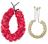 Kabello Hair Accessories Gajra (veni) For Hair Styling (Red+Golden)