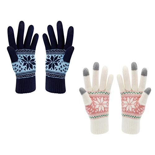 VENIMASEE Guanti invernali touch screen Stampa di fiori di neve Tenere al caldo per donne e uomini, Donne nere