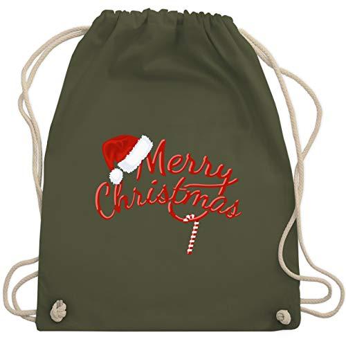 ter - Merry Christmas Zuckerstange - Unisize - Olivgrün - WM110 - Turnbeutel & Gym Bag ()