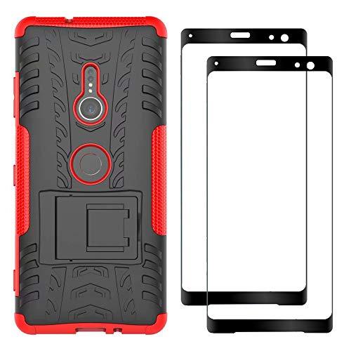 FANFO® Sony Xperia XZ3 Hülle + [2 Stück] Gehärtetem Glas, TPU + PC-Kombination Faltbarer Halter Outdoor Schutzhülle + 9H Härte Bildschirmschutzfolie Folie für Sony Xperia XZ3, rot