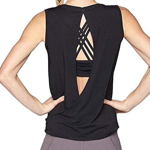 Débardeur de Yoga Femme Ouvrir en Arrière Tops de Sport Racerback Tank Top Elastic T-Shirt sans Manches Vest pour Fitness Gym LianMengMVP