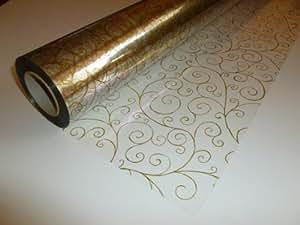 The Florist & Craft Warehouse - Rotolo di pellicola trasparente con motivo decorativo dorato, 10 m x 80 cm Ideale per confezioni da fiorista / bouquet / regali / cesti