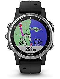 Garmin Fenix 5S Plus Compact Multisport Watch with Music, Maps and Garmin Pay, Silver with Black Band