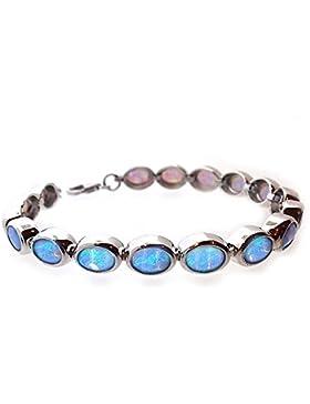 Blaues Opal Armband aus Sterling-Silber mit verstellbarer Länge. Herrliche Qualität in einer Geschenkbox.