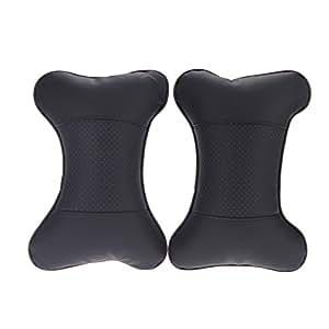anself 2pcs coussin de cou de voiture repose t te support cervical voiture noir. Black Bedroom Furniture Sets. Home Design Ideas