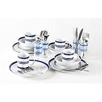 36 pezzi, colore: blu a strisce & Bistro-Set di piatti