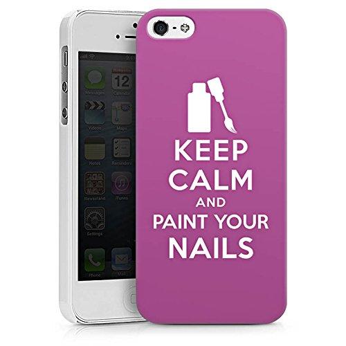 Apple iPhone X Silikon Hülle Case Schutzhülle Keep Calm Nägel Beauty Hard Case weiß