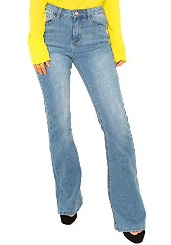 764e2a79a Cindy H Paris Vaqueros Bootcut Efecto Lavado para Mujer Jeans Estilo Flare  de Tiro Medio - Azul Claro - 34