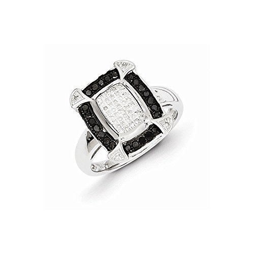 Sterling Silver Black & White Diamond Ring von UKGems -Sterling Silver Black & White Diamond Ring by UKGems Black Diamond Und Silver Ring