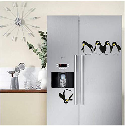 Lustige Pinguin Küche Kühlschrank Aufkleber, Küche Wandaufkleber, geschnitzte weiße Grenze Wandtattoo, Home Decor Wohnzimmer Abziehbilder