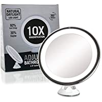 Fancii Espejo de Maquillaje LED con Aumento de 10X, Espejo Cosmético Iluminado con Ventosa, Regulable Luz LED Diurna, 20 cm de Ancho, Rotación 360°, Portátil y Sin Cable