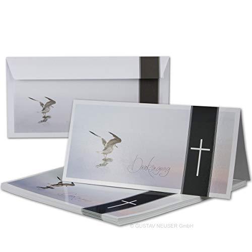 25x Danksagungskarten Trauer mit Umschlag DIN LANG - Mit Text DANKSAGUNG - Motiv Möwe Vogel - Trauerkarten Set - würdevolle Dankeskarte