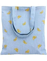 "Nuni Women'S Banana Print Cotton Canvas Tote Bag Blue (Tote 12.2""X14.6"", Zip Closure)"