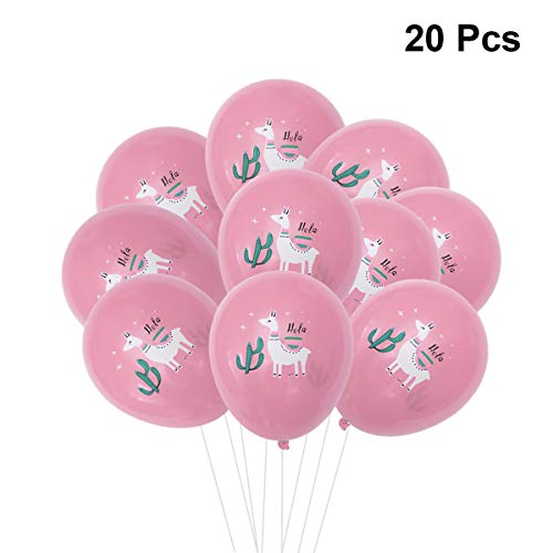 Amosfun 20 stücke 12 Zoll Latex Luftballons Alpaka Kaktus Gedruckt Dekorative Luftballons für Hawaii Sommer Thema Party Geburtstag Baby Shower Decor (Rosa) (Baby Geburtstag Party Thema)