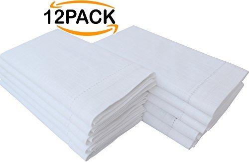 100% Cotton slub Cloth Dinner Napkin, Hemstitched , White,set of 12, Size 16 x 16 inch