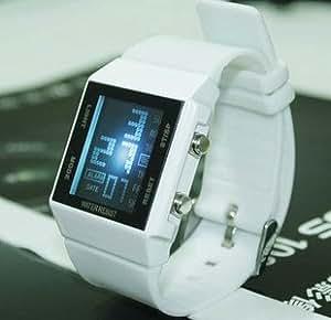 Mister-Deal - Montre japonaise Led Watch Rétro éclairée - Bracelet blanc - Binary Watch