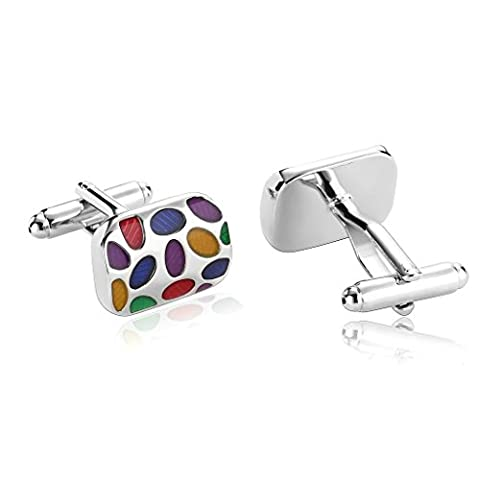 Epinki Men Stainless Steel Rounded Rectangle with Oval Cubic Zirconia Multicolor Cufflinks
