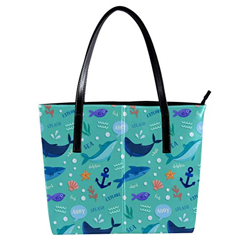 Women's Bag Shoulder Tote handbag Sea Animal Dolhpin Shark Fish Anchor print Zipper Purse PU Leather Top-handle Zip Bags
