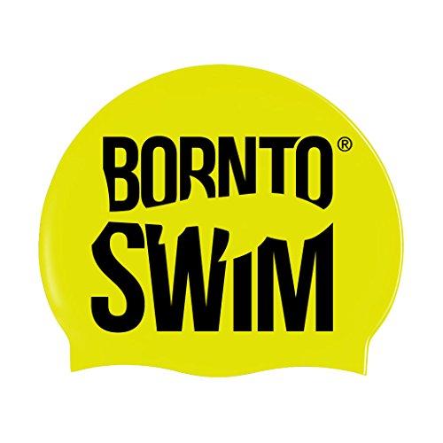 BornToSwim Jugendliche und Erwachsene Badekappe aus Silikon Neon Schwimmkappe mit Hai Motive