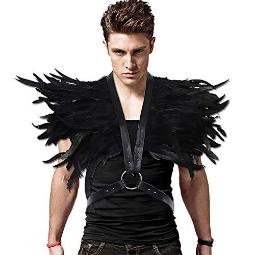 keland Gothic Schwarze Feder Achselzucken Schal Halloween Party Kostüm Epauletten Fliege Krawatte Kragen (Schwarz-003) (Schwarz-003) (Sehr Einfache Kostüm)