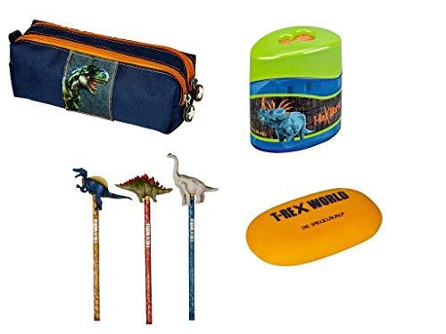 T-Rex World Die Spiegelburg 4-teiliges Schulschreib-Set 14537 14270 12242 14570 Stifte-Etui + Bleistift mit Topper (Keine Motivauswahl möglich) + Doppelanspitzer + Radierer