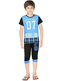 Just4You Boy's Sporty Night Wear T-Shirt and Capri Pant Set by