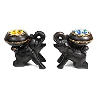 Set of Two Baby Elephants Carved Rain Tree Wooden Tealight Candle Holder Set - Fair Trade Handicraft by Thai Artisans by AeraVida